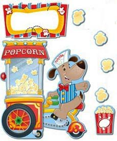 """Decorate your classroom walls with a full-sized bulletin board set that gets students excited about school. The Poppin' Popcorn Bulletin Board Set features an adorable dog vendor and his popcorn cart. These huge pieces measure approximately 11"""" x 22"""" each! Finish the look with 10 popcorn bags, 36 popcorn pieces, and a blank header. Teaching guide also included. Picture above may not represent a full set."""