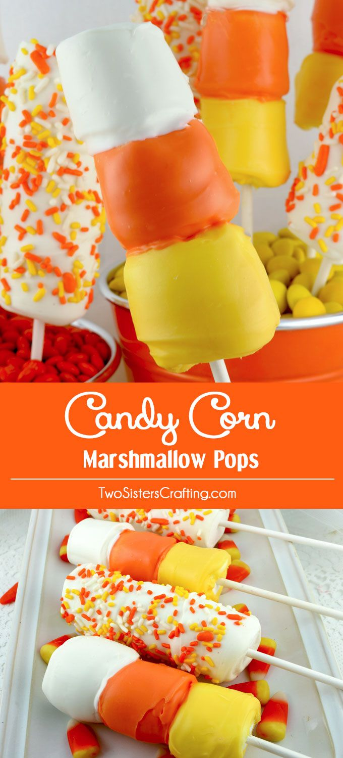 Looking for unique and delicious Halloween treats for a party? How about Candy Corn Marshmallow Pops? So easy to make and you won't believe how delicious they are. They would be a fun dessert for a Halloween Party. Pin this great Halloween dessert for later and follow us for more fun Halloween Food ideas.