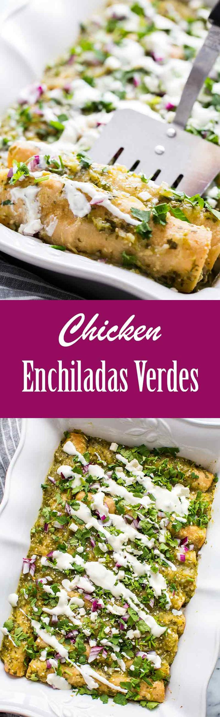 Chicken Enchiladas with Tomatillo Salsa Verde Sauce! Served with chopped onion, Mexican cheese, sour cream, and cilantro. #enchiladas #salsaverde #mexicanfood