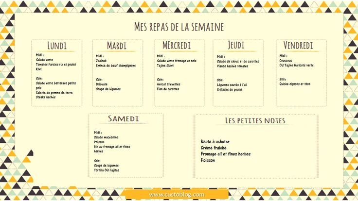 Menu de la semaine r gime pinterest for Idee de menu original