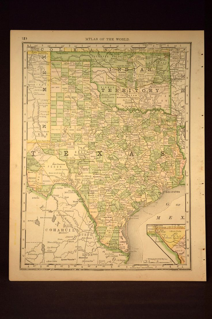 Map Us Before Mexican War%0A Antique Texas Map Oklahoma Map Original Hand Colored