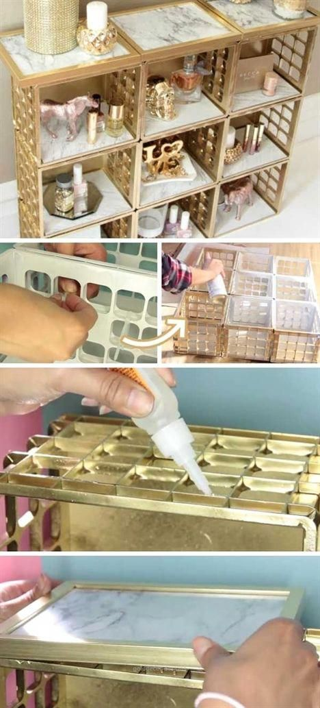 Look Over This Dollar Tree Marble and Gold Organiz…