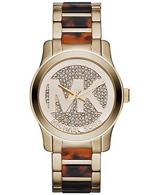 Michael Kors Watch, Women's Runway Tortoise Acetate and Gold-Tone Stainless Steel Bracelet 38mm MK5864