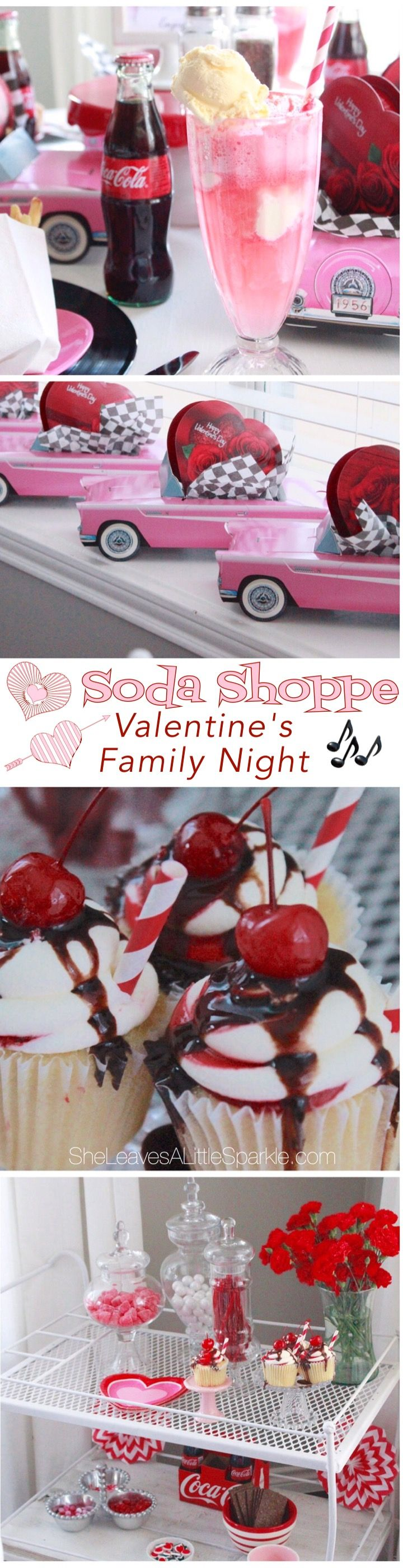 """Soda Shoppe Valentine's Family Night! Come see a fun idea we had to celebrate Valentine's Day with our kids...including 50's playlist for our sock hop AND we made """"love shacks""""."""