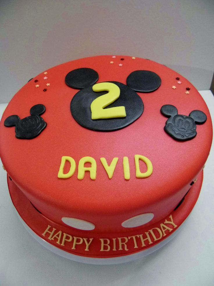 A Mickey Mouse themed cake for a young fan's Mickey Mouse themed birthday party