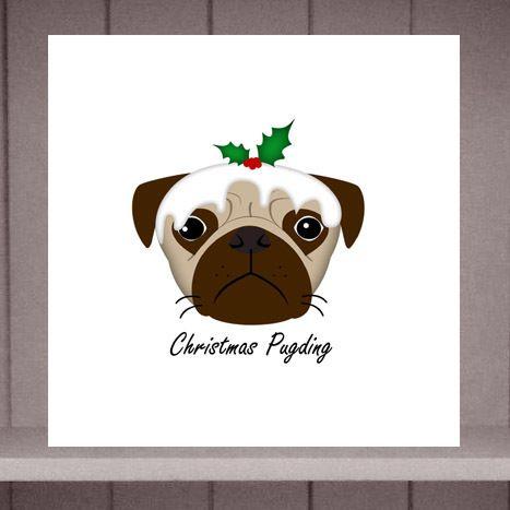 Christmas Pugding Pug Christmas Card