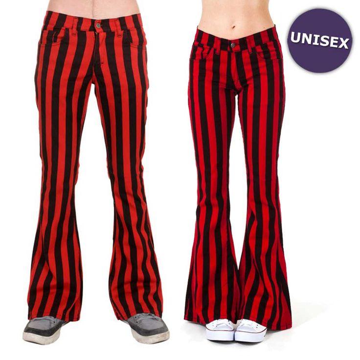 Jist Flare jeans gestreepte unisex broek met wijde pijpen zwart/rood -
