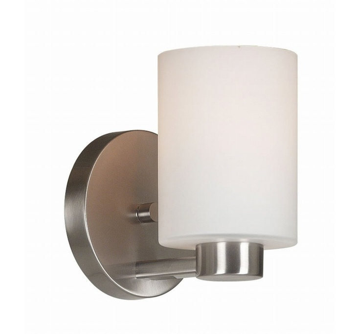 brushed wall sconce with a cylindrical white opal glass shade product wall material metal and glasscolor brushed steel