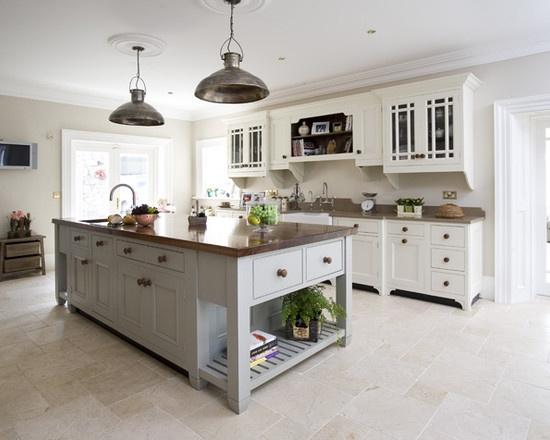 Farrow balls slipper satin french grey counter tops for Modern country kitchen cabinets