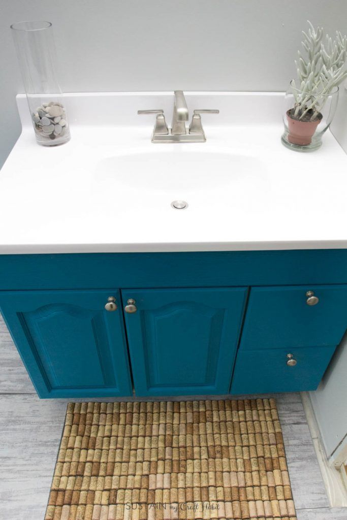 Beach Themed Bathroom Vanity Upcycled With Teal Paint And New Countertop Beach Theme Bathroom Vintage Bathroom Vanities Bathroom Themes