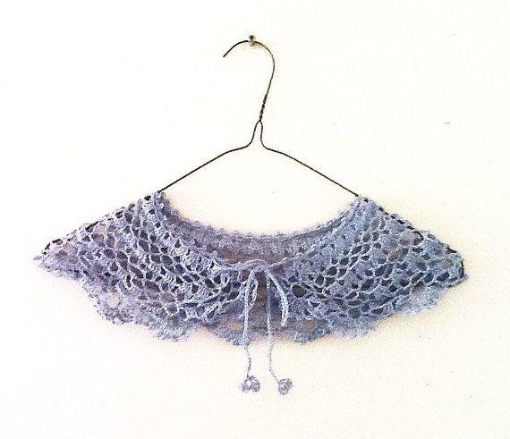 Handmade crochet linen collar necklace in Silver/ Grey by LOLAsHome, $26.00