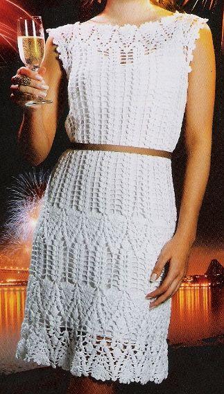 \ PINK ROSE CROCHET /: Vestido de Crochê Branco AN