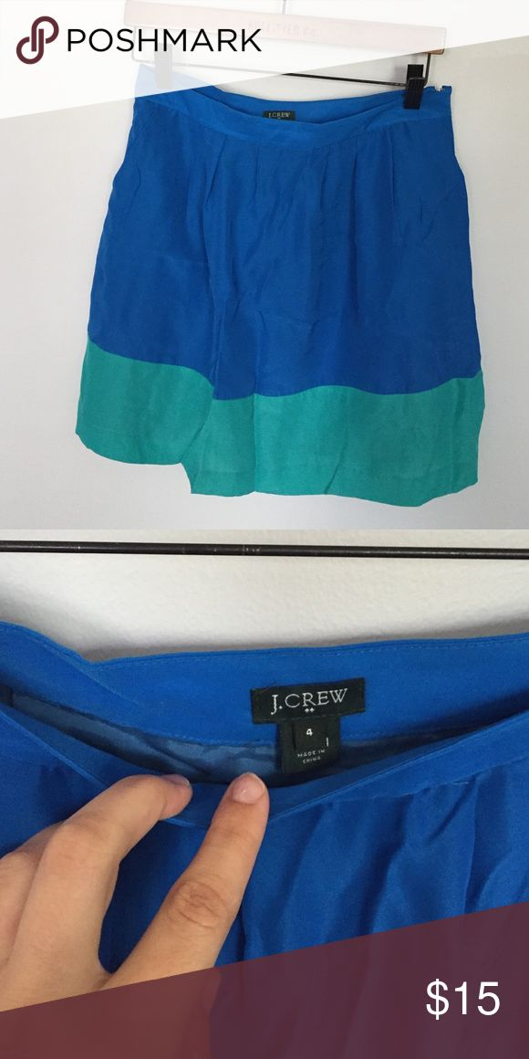 Jcrew blue and green color block skirt. Worn maybe once. I wore it as a high waisted skirt with a shirt tucked in. Perfect day to night skirt!! Wear with tights or a long sweater and boots! So cute. J. Crew Skirts Circle & Skater