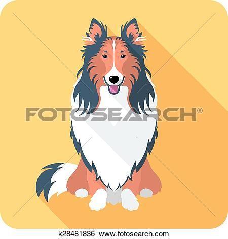 смотреть собака, колли, символ, плоский дизайн Большой Clipart Графический