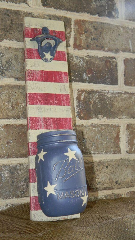 Rustic American Flag painted chalk paint mason jar bottle opener Ball Labor Day