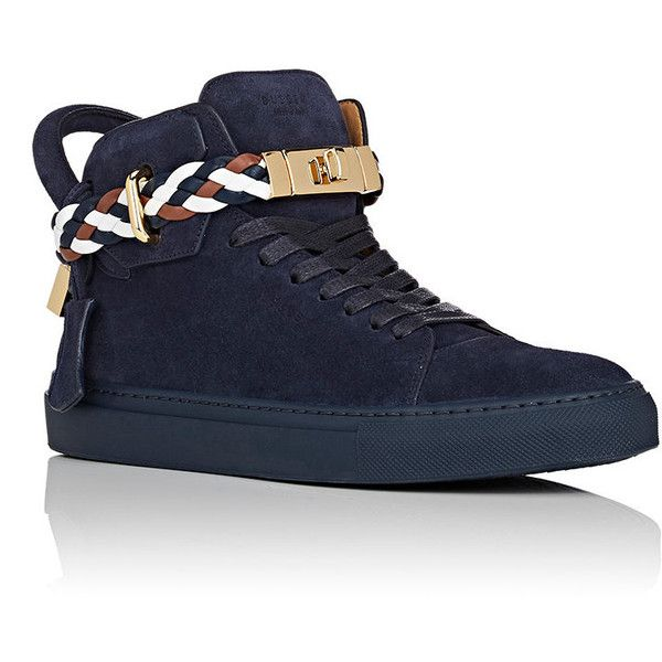 Buscemi Men's Men's 100MM Suede Sneakers (2.800 BRL) ❤ liked on Polyvore featuring men's fashion, men's shoes, men's sneakers, mens suede lace up shoes, mens high top shoes, mens suede sneakers, mens suede shoes and mens hi top shoes