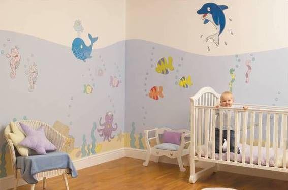 Baby Nursery. Mesmerizing Baby Room Design Ideas: Interesting Baby Room Decoration Design With Cute Animal Under The Sea Creatures Wallpaper Theme And Wooden Flooring Ideas ~ wegli