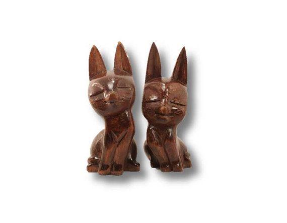 Wood Carved Cats Cat Sculpture Wood Figurine by ClockworkRummage, $20.00