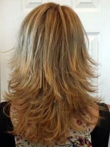 long layered haircuts back view | Medium Length, Layered Shag, Honey Blone, Rear View, 50's