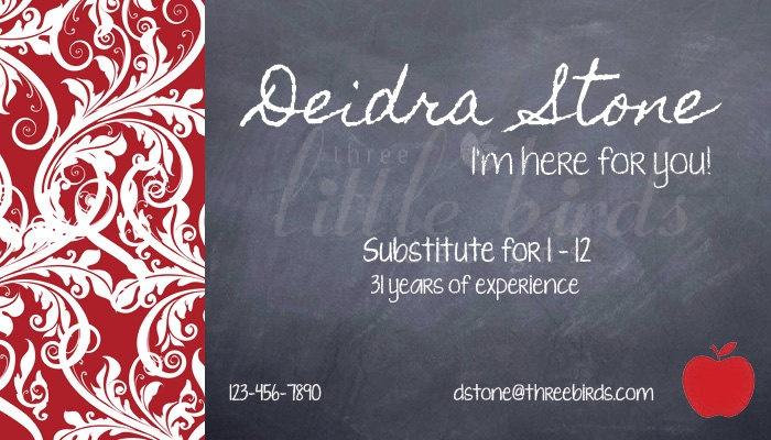 teacher or substitute business card applelicious tutor