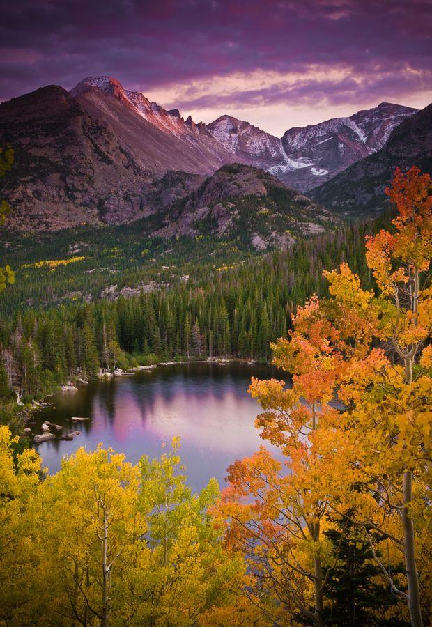 Aspen Sunset over Bear Lake.  Rocky Mountain Nat'l Park, Colorado.