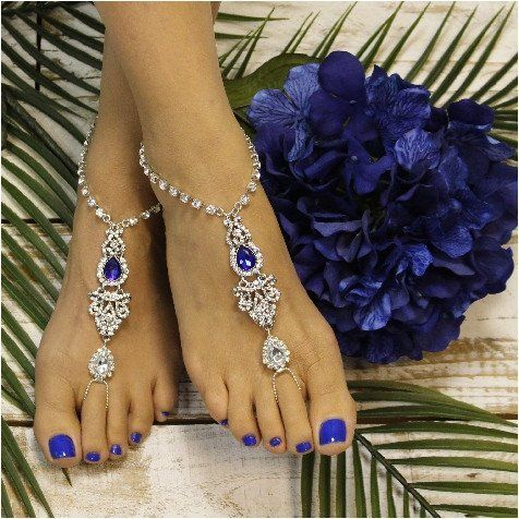 ERINN  barefoot sandals - sapphire blue silver, shop for the perfect blue barefoot sandal HERE!. royal blue feet jewelry