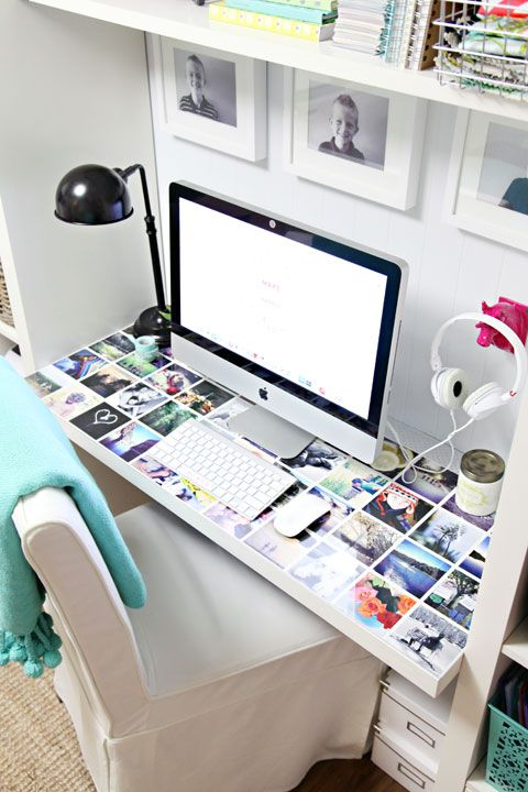 a quick desktop makeover... Buy a piece of plexi glass to put on dorm desk. Put photos or ticket stubs underneath to personalize it! Great for dorm room.