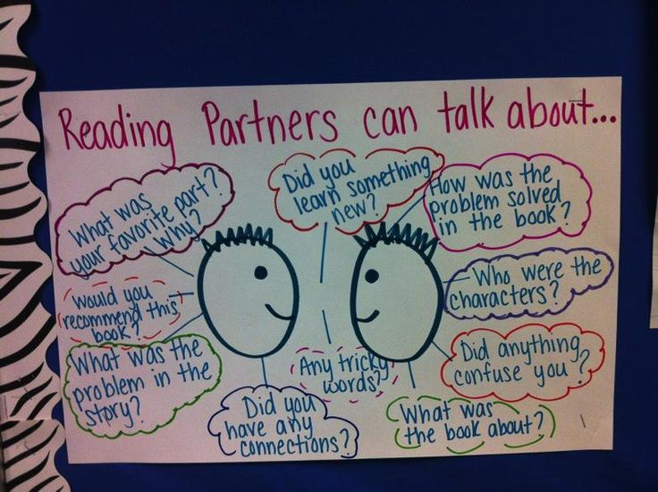 Reading Partners:  In a homeschool family Mum may be the partner - help your kids talk about what they are reading (A Literate Life - Anchor Charts)