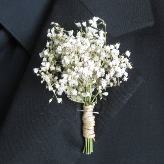 """Dried Babies Breathe Gypsophilia Boutonniere"" this is PERFECT, because I want babies breath & a single sunflower in my bouquet."