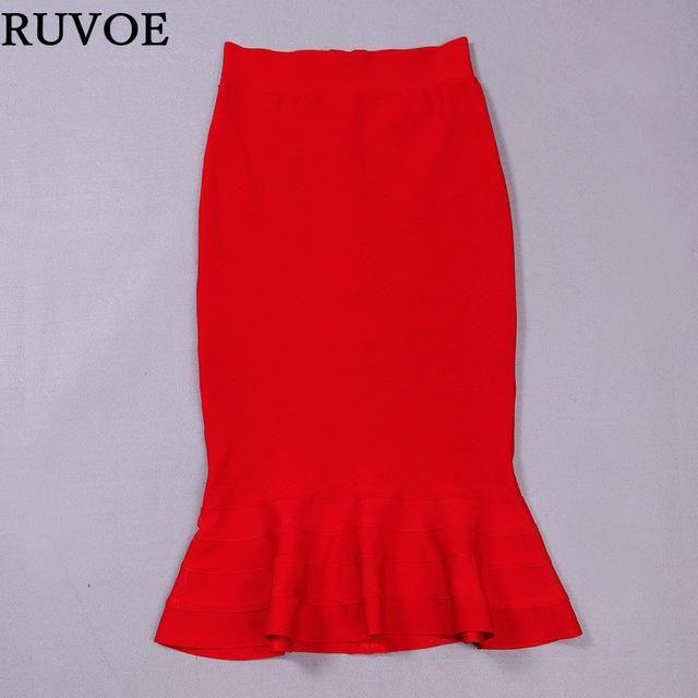 Ruffle Hem Bandage Knee Length Skirt - 5 Colors