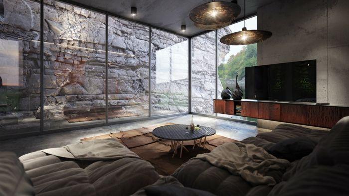 decoration industrielle, rocher, portes coulissantes, murs en motifs marbre, table basse en bois et métal, commode marron