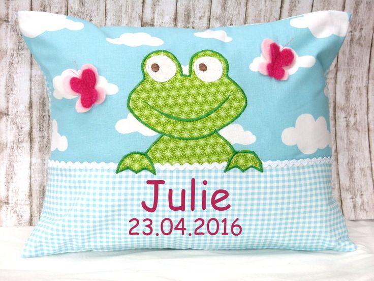 """Namenskissen & Decken - Namenskissen """" Frosch """" Das Original! incl.1.Name - ein Designerstück von Julies-Place bei DaWanda"""