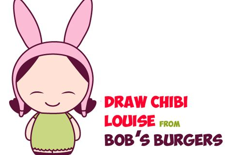 Today I will show you how to draw a cute, baby, kawaii, chibi Louise from Bob's Burgers. Louise is the younger daughter on Bob's Burgers and she always wears a pink bunny ears hat with a green dress.