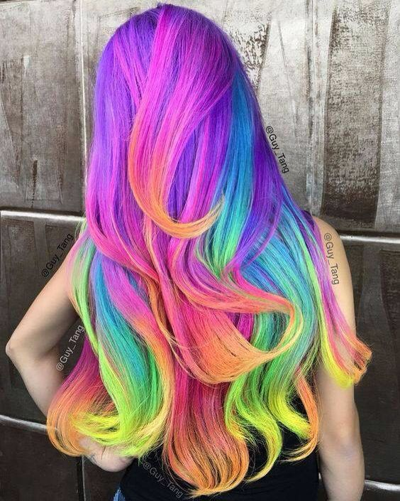 Unicorn hair fantasy color pink blue yellow orange