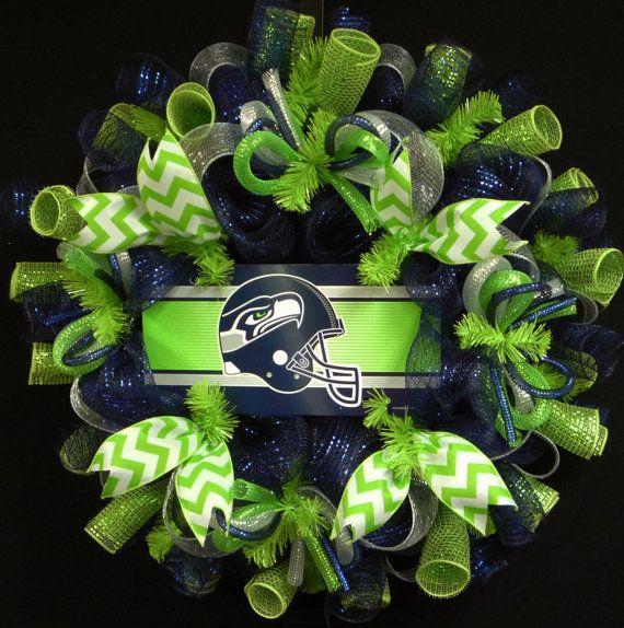 Seattle Seahawks Wreaths, NFL Wreaths, Seattle Seahawks, Sports Decor, Deco Mesh Wreaths, Item 1164 on Etsy, $69.00