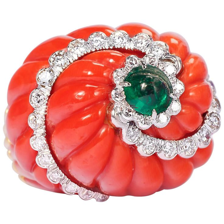 1960s David Webb Impressive Coral Emerald Diamond Gold Platinum Dome Ring | From a unique collection of vintage cocktail rings at https://www.1stdibs.com/jewelry/rings/cocktail-rings/