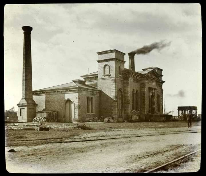 Newcastle's hydraulic power house,Carrington in 1880. State Library of Victoria.