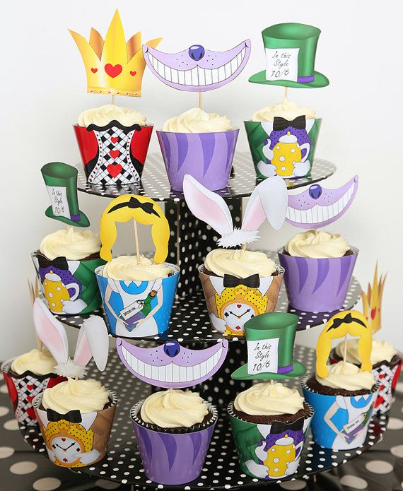 Mad Hatters Tea Party Cupcake Wrappers by PartyIdeasUK on Etsy