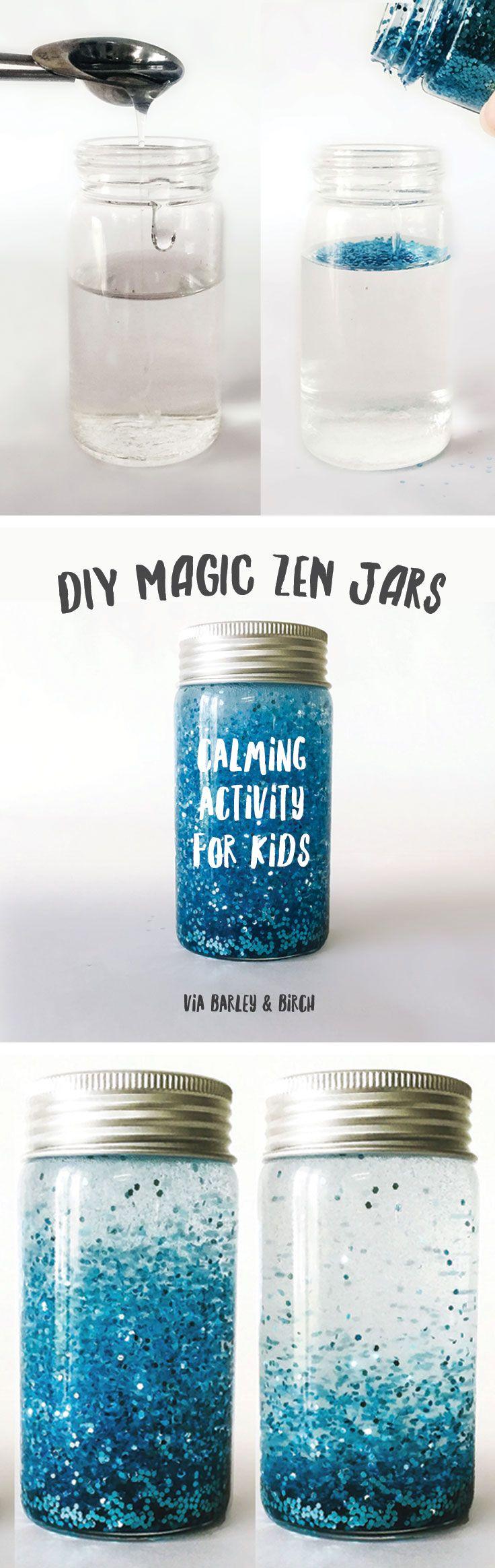 DIY Craft: Make a DIY magic zen jar to help calm kids and sneak in a little meditation practice - via barley and birch