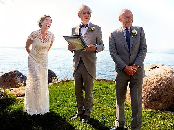 Sir Patrick Stewart and bride share wedding day photo with their officiant Sir Ian McKellen.  I kinda love that Gandalf officiated Captain Picard's wedding.