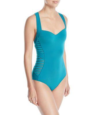 Jets By Jessika Allen Banded Side-Stripe One-Piece Swimsuit, Dark Blue