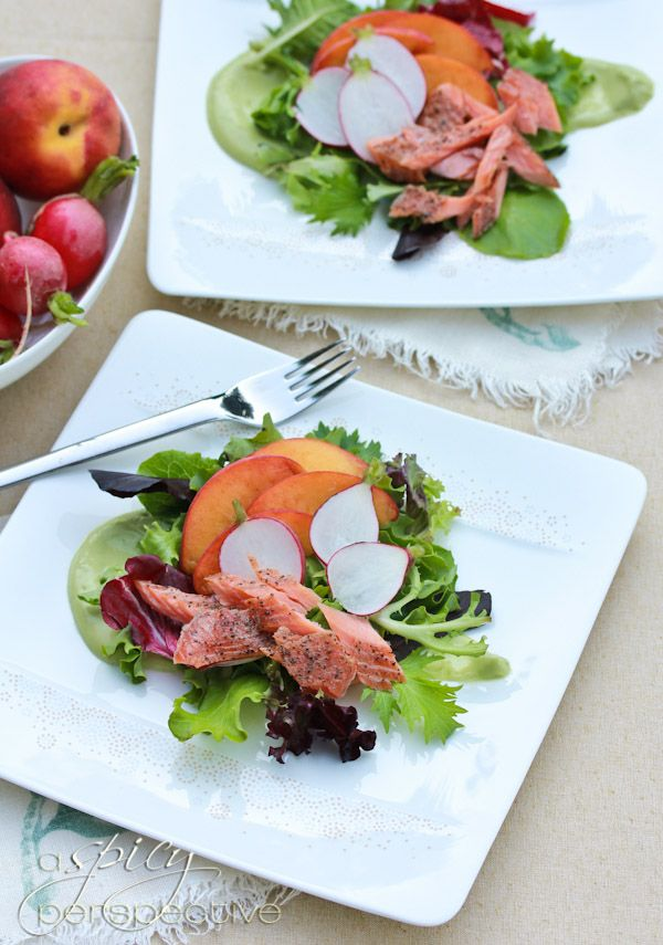 Smoked Trout Salad with Avocado Dressing - ASpicyPerspective.com #salad #avocado #trout