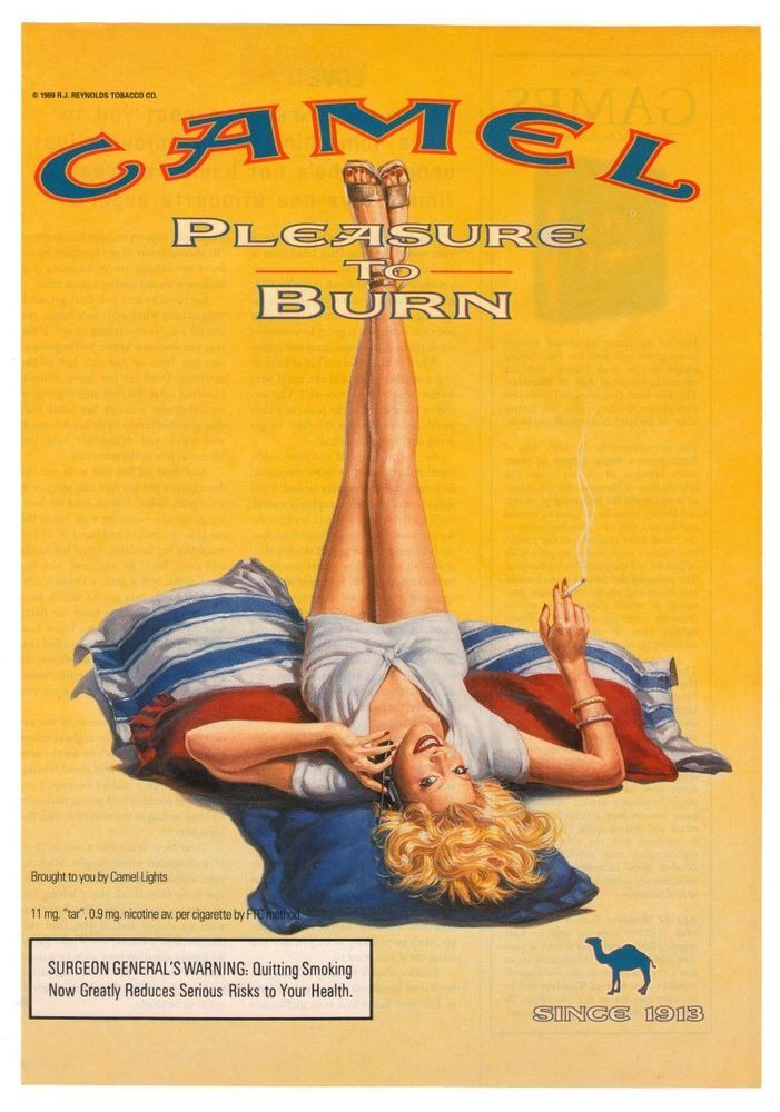 Camel Cigarette Smoking Woman Pinup Sexy Legs Sandals Leggy Advertisement Ad 1999 #Camel #Tobacco #Pinups