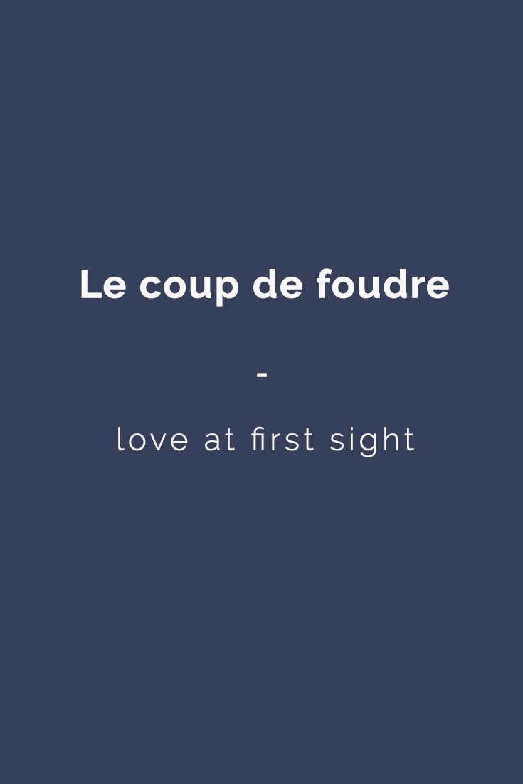 le coup de foudre: love at first sight | Here's a great source of French expressions for you: https://store.talkinfrench.com/product/french-expressions-essential/ Only $3.90!
