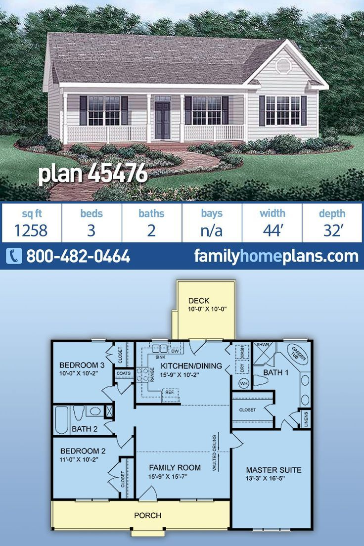 Traditional Style House Plan 45476 With 3 Bed 2 Bath Simple 3 Bedroom Home Plan 45476 In 2020 Ranch House Plans Ranch Style House Plans Traditional House Plans