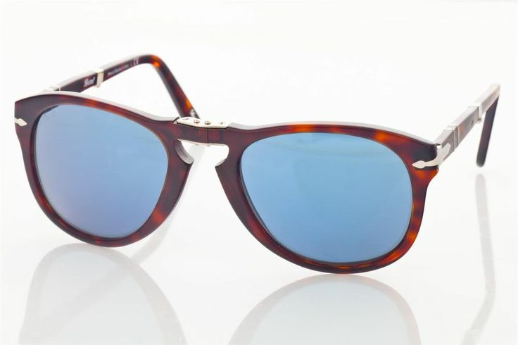 Authentic New PERSOL 714 Folding Sunglasses  24/56 52  Brown, Blue Steve McQueen