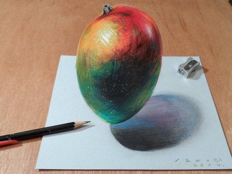 "Trick art on paper. How to draw a realistic mango. Time Lapse.<br />Mixed media.<br />Materials used: <br />Pastell paper: light gray.  <br />H graphit pencil (Derwent) <br />Grey markers: Letraset PROMARKER cool grey <br />Black and white charcoal pencil.<br />White gel pen.<br />Grey Stabilo marker 0,4.<br />Black Faber - Castell pen 0,7. <br />Soft eraser.<br />Music: Eviction - Silent Partner<br />For sale: <a href=""http://vamosart.deviantart.com/gallery/"" target=""_blank""…"