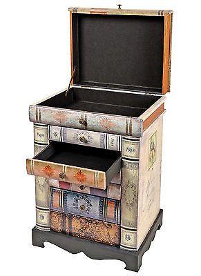 Kommode-Buecherregal-Schrank-im-Vintage-Antik-Buch-Design-Nachttisch-Schubladen