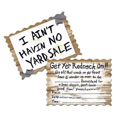 Redneck Invitations: Discount Party Decorations yup for the entance for the weddin
