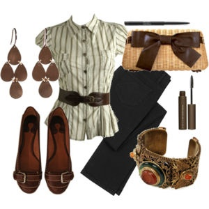 Casual outfit: <3 shoes, earrings, bracelet, and belt. Color palette: green, white, gray, and brown.